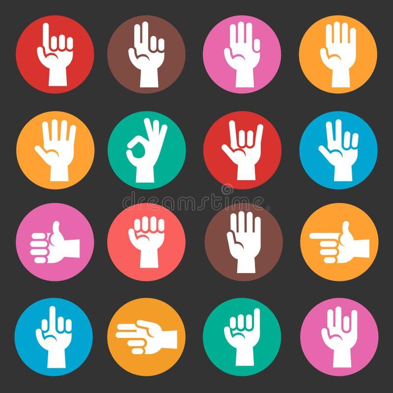 Icônes colorées de vecteur de gestes de mains réglées illustration libre de droits