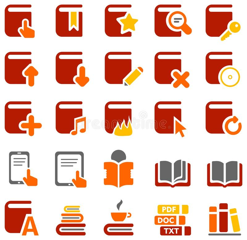 Icônes colorées des livres et de la littérature photo stock