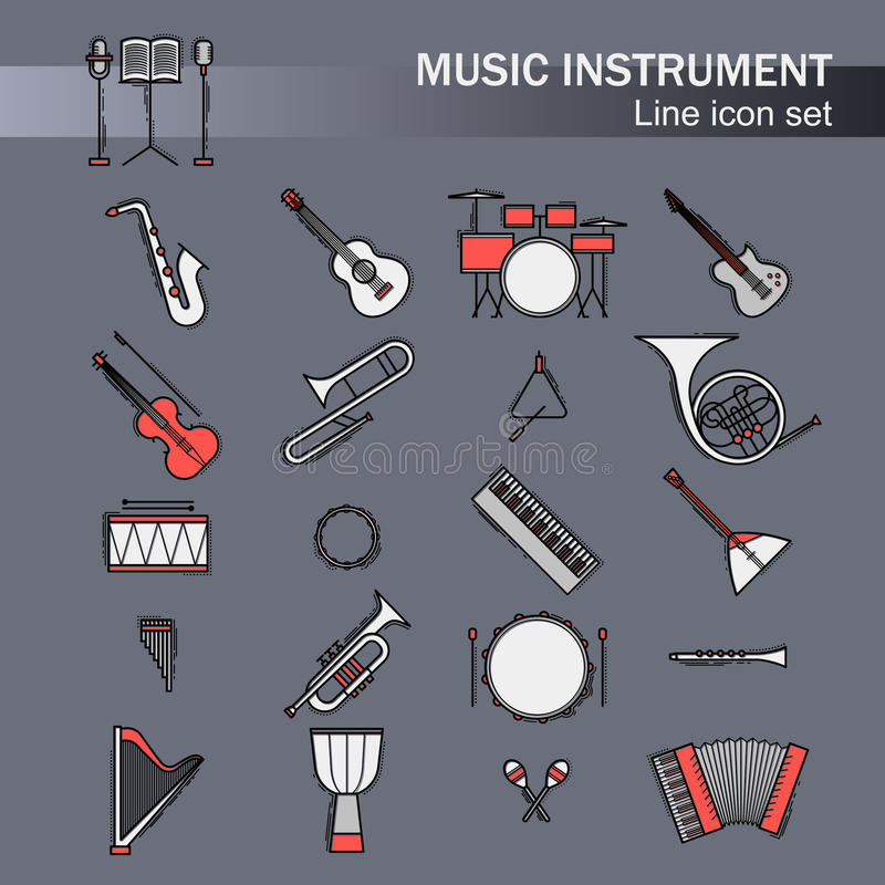 Icônes colorées musicales d'instruments réglées Illustration classique d'élément de vecteur Piano de guitare de klaxon de violonc illustration de vecteur