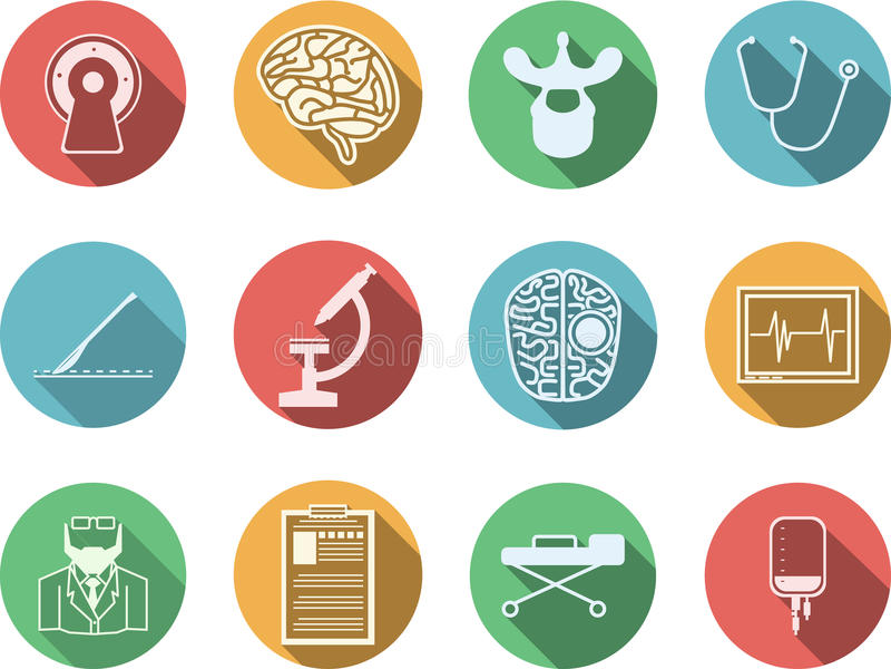 Icônes colorées pour la neurochirurgie illustration stock