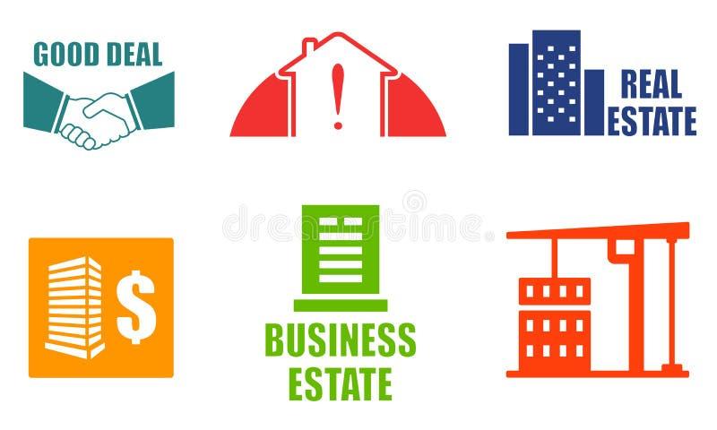 Icônes colorées réglées d'immobiliers illustration de vecteur