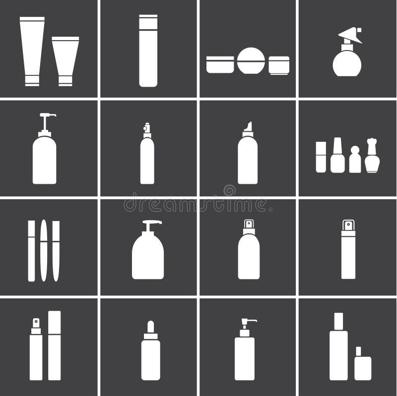 Icônes cosmétiques de flacons illustration de vecteur