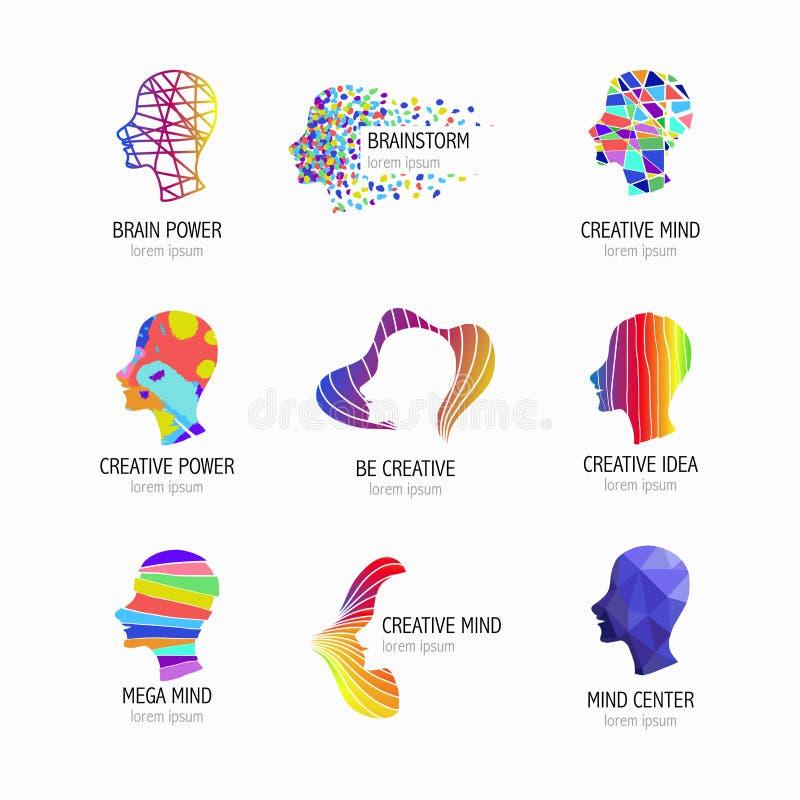 Icônes créatives d'esprit, d'étude et de conception Tête d'homme, symboles de personnes Illustration de vecteur illustration stock