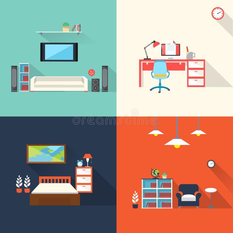 Icônes créatives de meubles réglées dans la conception plate illustration de vecteur