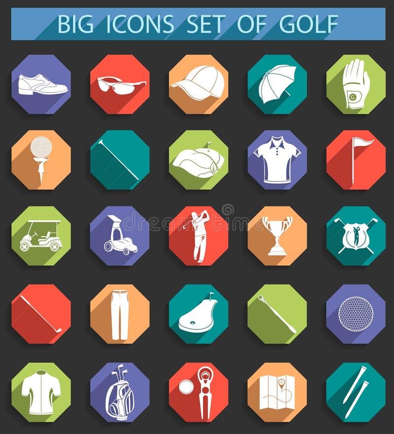 Icônes créatives dessus d'appartement de style du golf illustration libre de droits