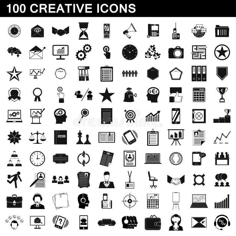 100 icônes créatives réglées, style simple illustration de vecteur