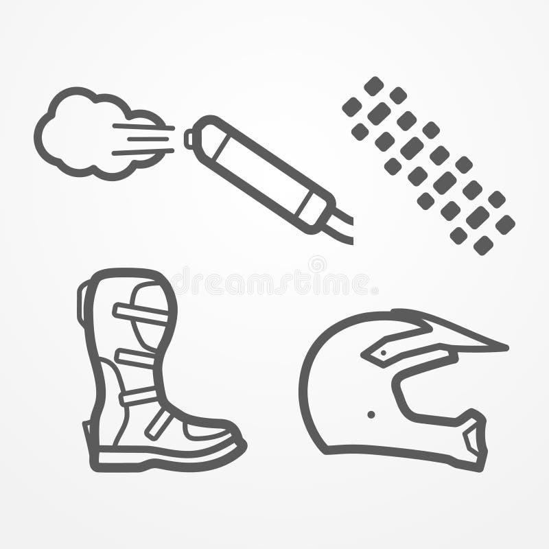 Icônes croisées de moto illustration libre de droits