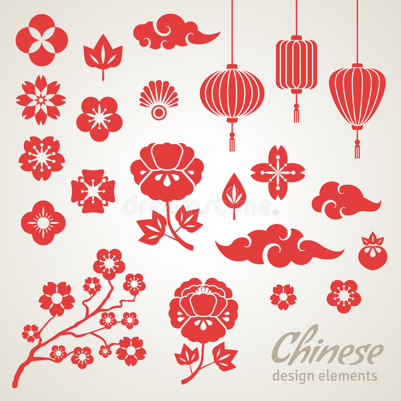 Icônes décoratives chinoises, nuages, fleurs et illustration de vecteur