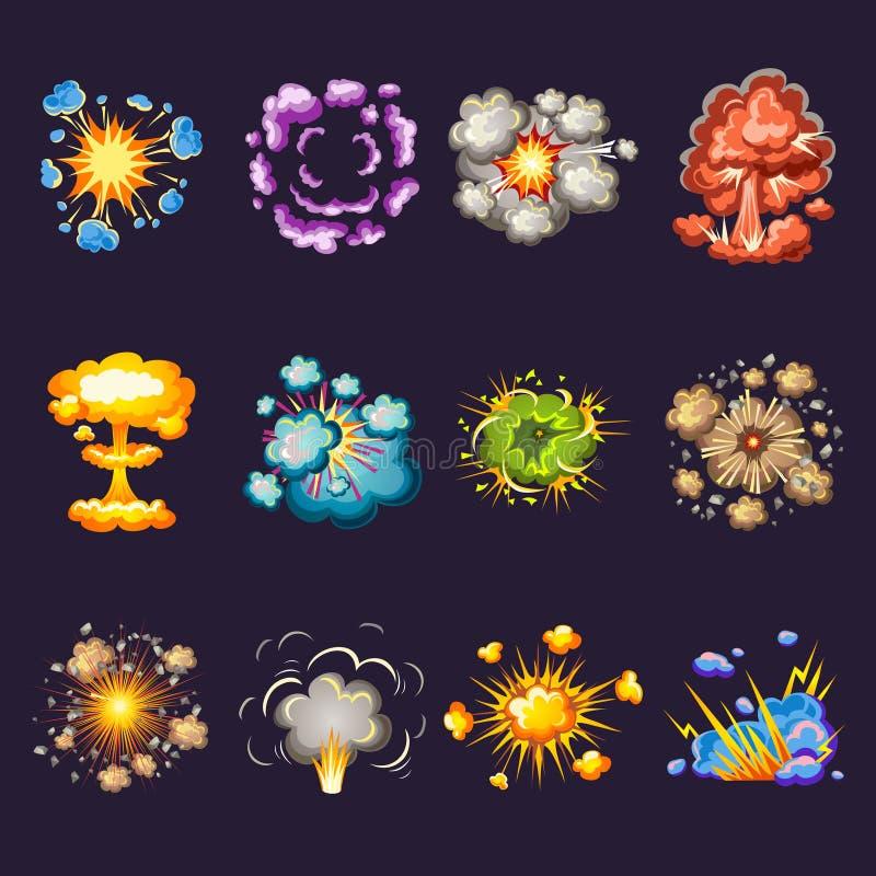 Icônes décoratives d'explosions comiques réglées illustration de vecteur
