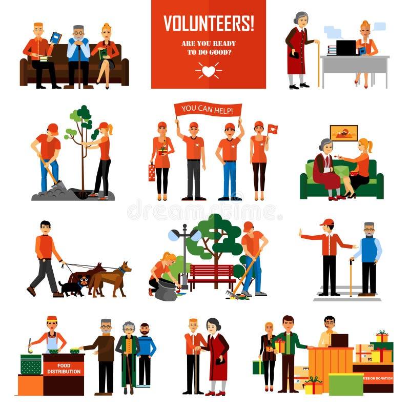 Icônes décoratives de personnes de volontaires réglées illustration stock