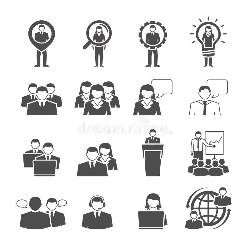 Icônes démographiques de noir de composition en équipe d'affaires illustration stock