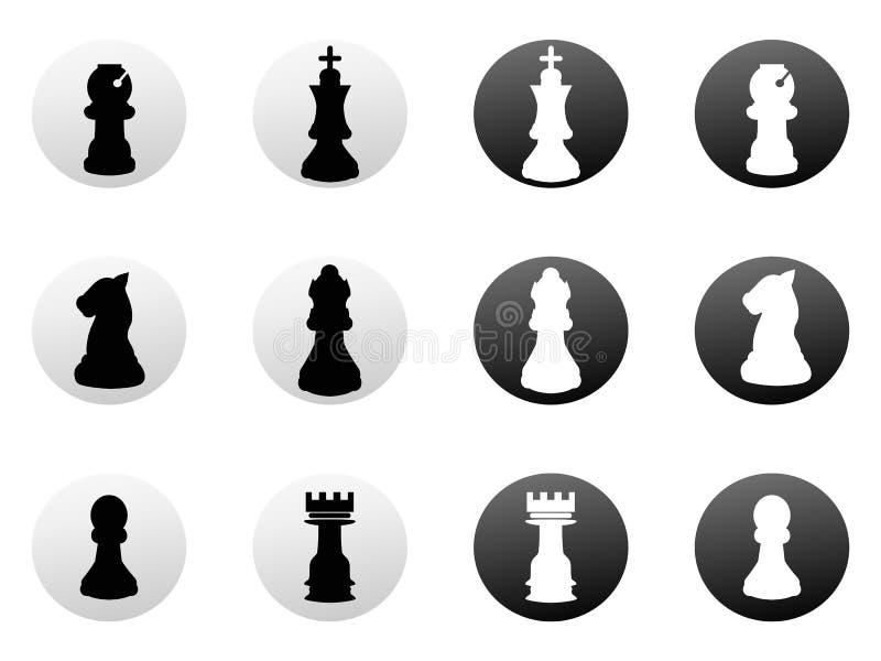 Icônes d'échecs réglées illustration libre de droits