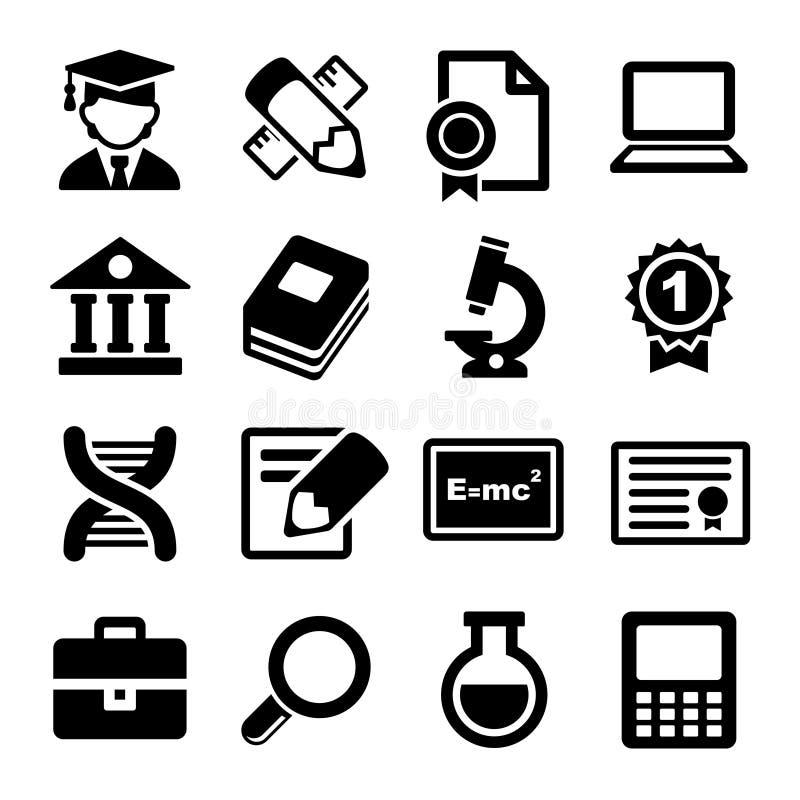 Icônes d'école et d'éducation réglées illustration de vecteur