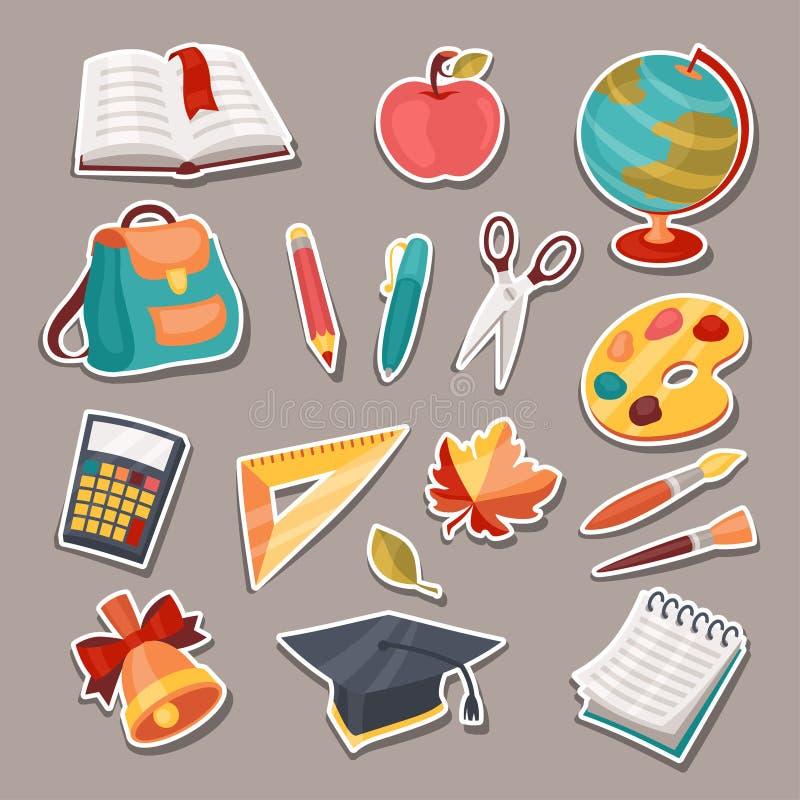 Icônes d'école et d'éducation, symboles, objets réglés illustration de vecteur