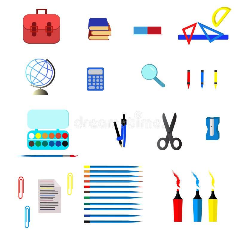 Icônes d'école et d'éducation, symboles, objets réglés illustration libre de droits