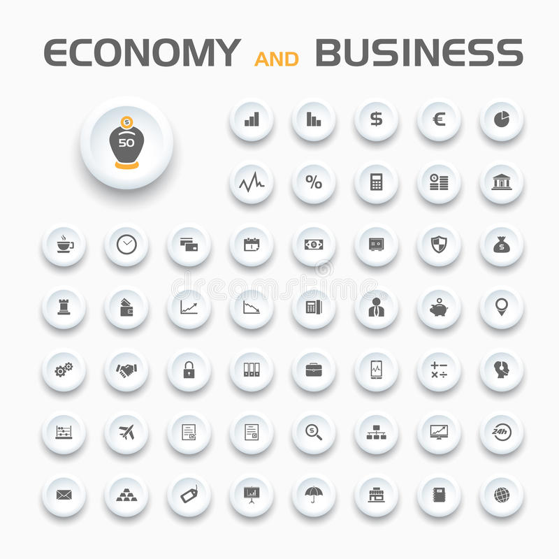 Icônes d'économie et d'affaires illustration stock