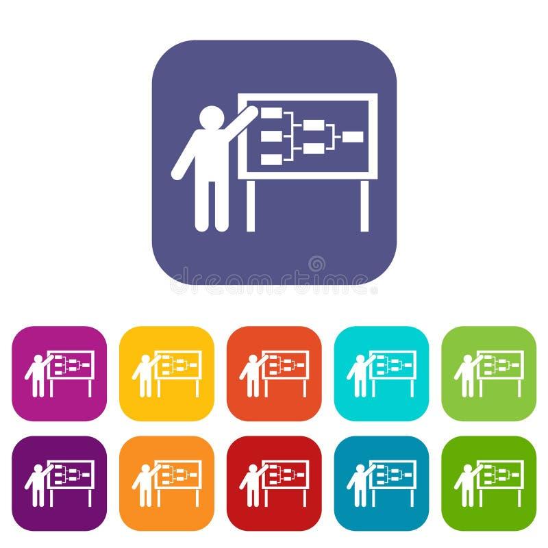 Icônes d'écran d'homme d'affaires et de présentation réglées illustration libre de droits