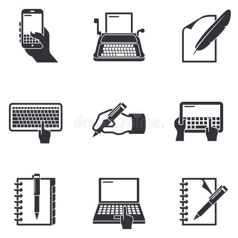 Icônes d'écriture illustration libre de droits