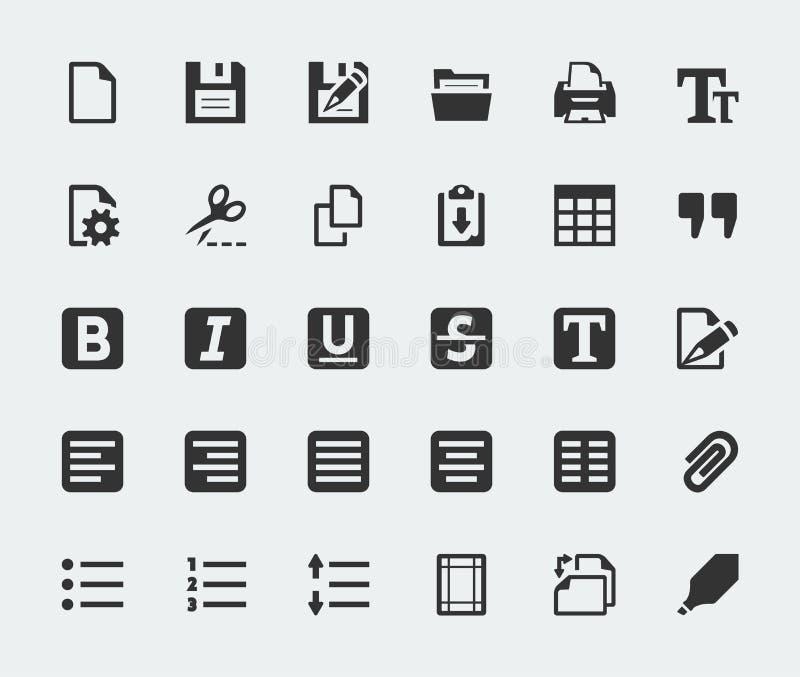 Icônes d'éditeur de texte de vecteur réglées illustration stock