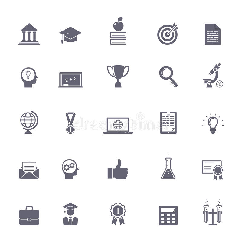 Icônes d'éducation d'Internet illustration stock