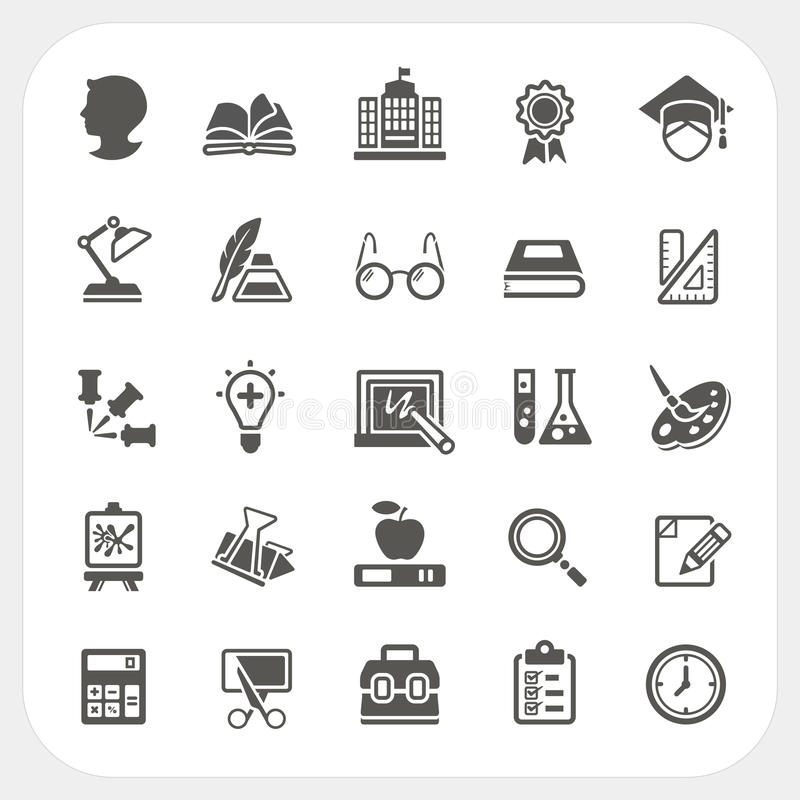 Icônes d'éducation réglées illustration stock