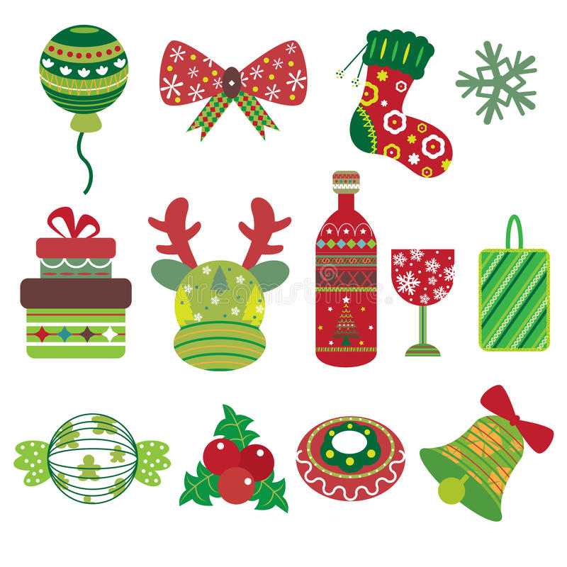 Icônes d'élément de Noël illustration libre de droits