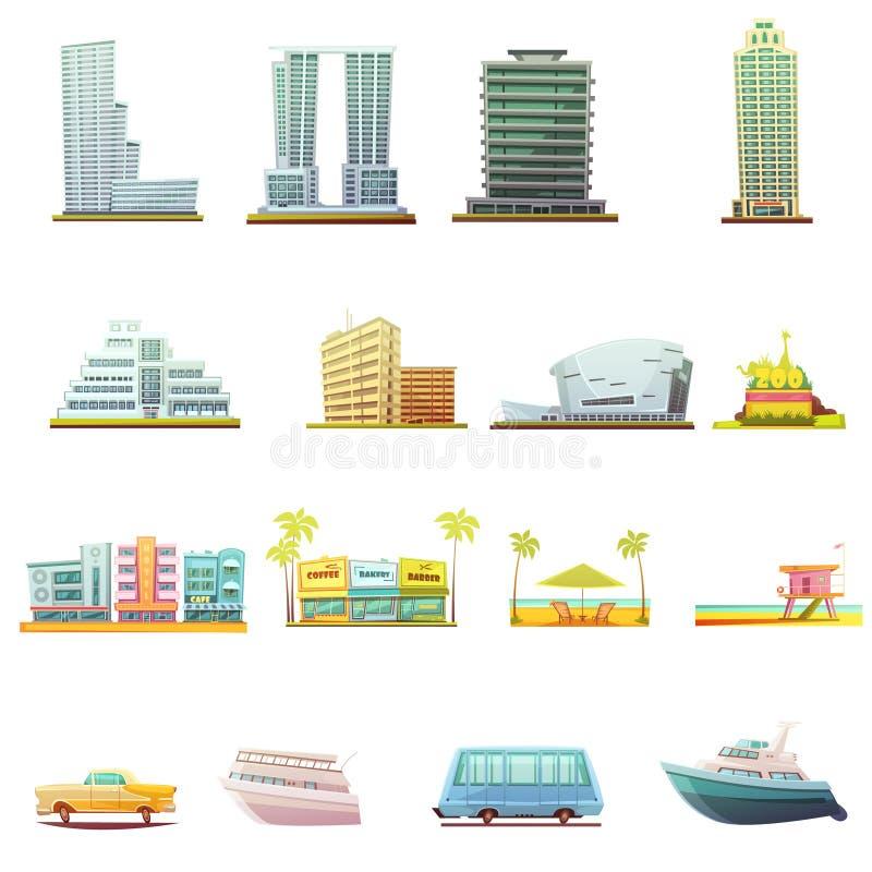 Icônes d'éléments de paysage de transport de Miami réglées illustration de vecteur