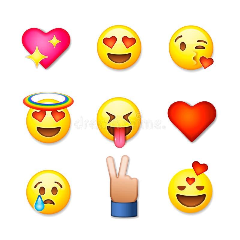 Icônes d'émoticône de jour de valentines, ensemble d'emoji d'amour illustration de vecteur
