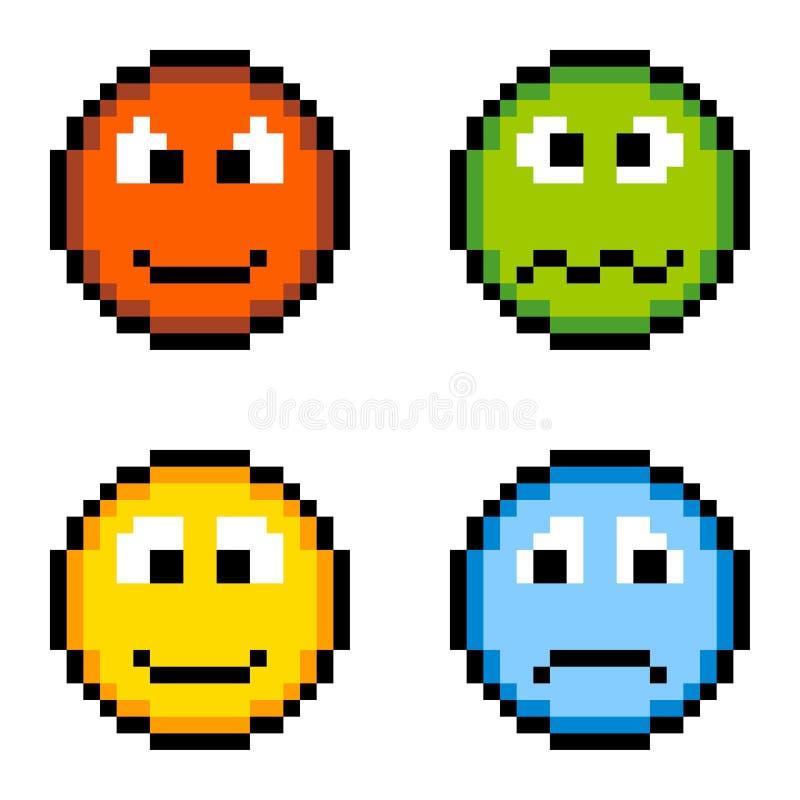 Icônes d'émotion de pixel - fâchées, malade, heureux, triste d'isolement sur le blanc illustration de vecteur