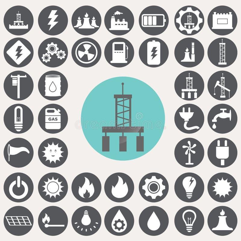 Icônes d'énergie et d'industrie réglées illustration stock