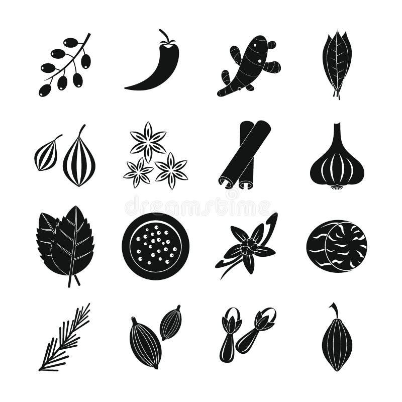 Icônes d'épice réglées, style simple illustration stock