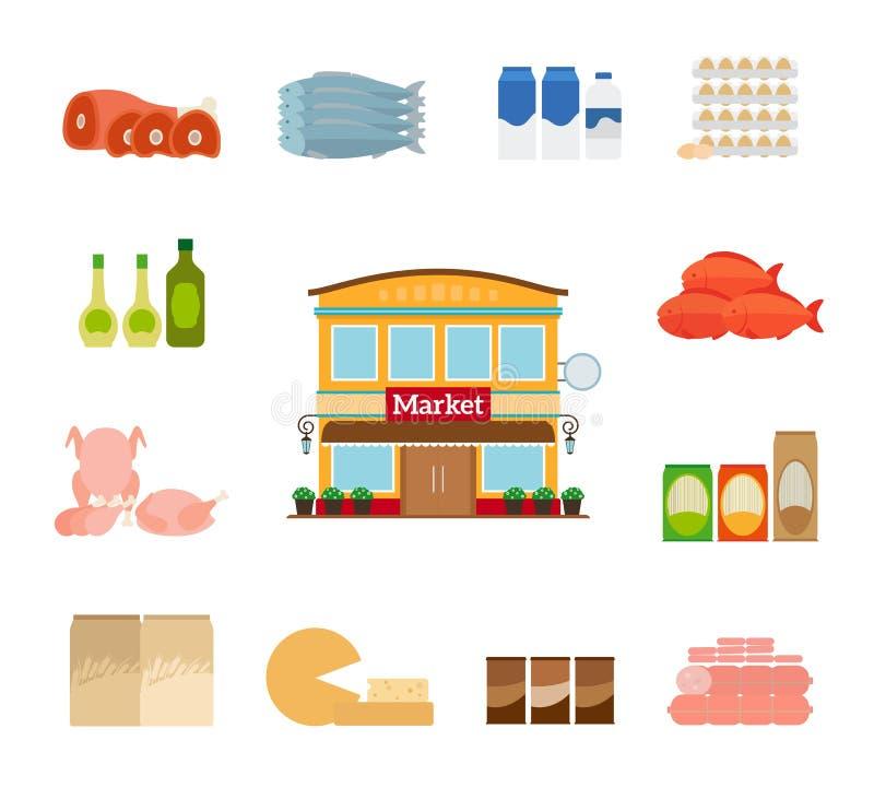 Icônes d'épicerie illustration de vecteur