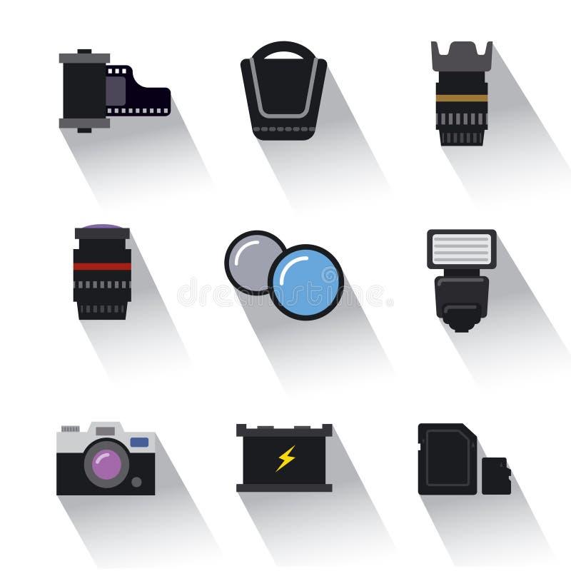 Icônes d'équipement de photo illustration stock