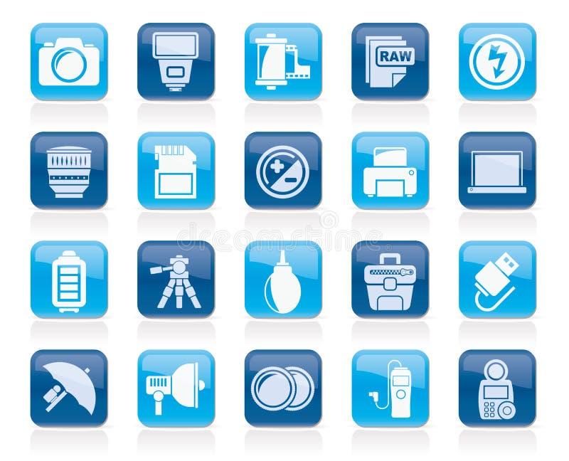 Icônes d'équipement et de photographie d'appareil-photo illustration libre de droits