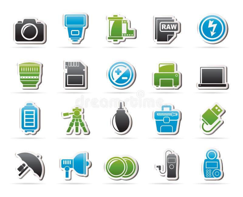 Icônes d'équipement et de photographie d'appareil-photo illustration de vecteur