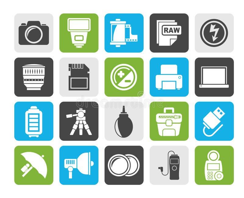 Icônes d'équipement et de photographie d'appareil-photo de silhouette illustration de vecteur
