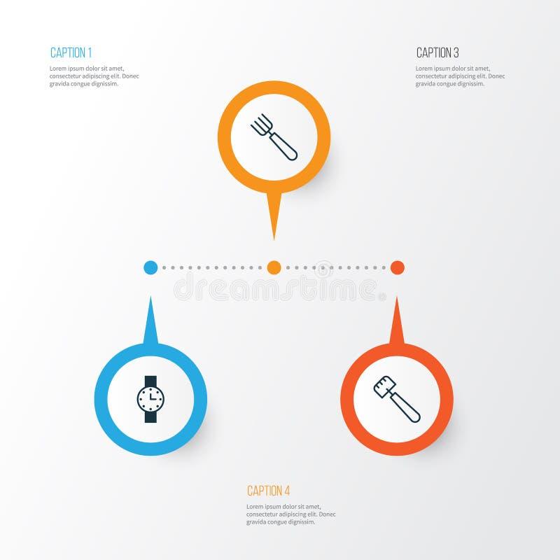 Icônes d'équipement réglées Collection de minuterie, de fourchette de jardin, de spatule et d'autres éléments Inclut également de illustration stock