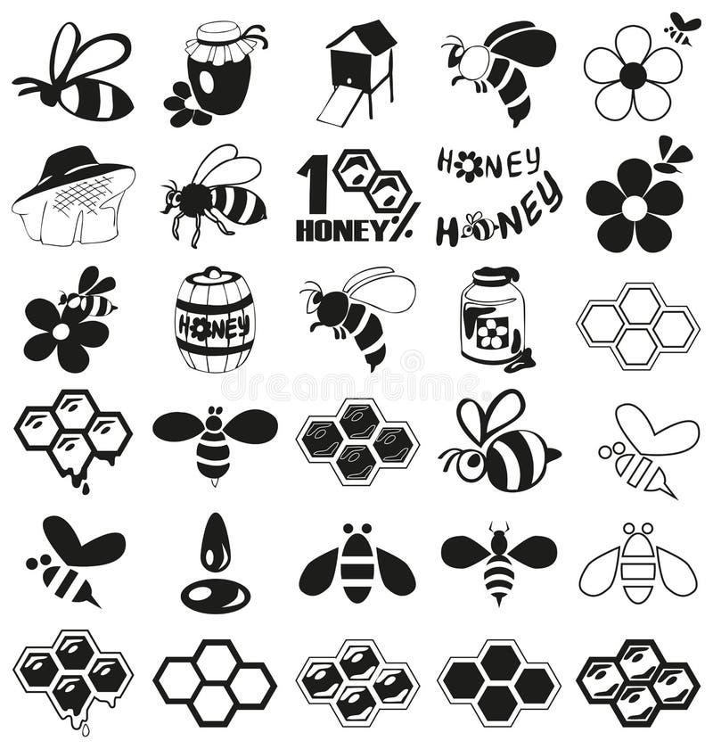 Icônes d'abeille et de miel sur le blanc photos stock