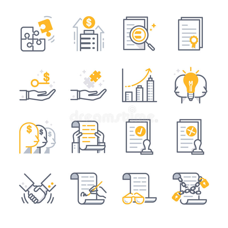 Icônes d'accord contractuel d'affaires illustration stock