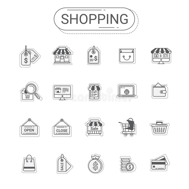 Icônes d'achats et de commerce réglées La ligne plate style d'icône coloré et détendent la couleur créent par conception moderne illustration de vecteur