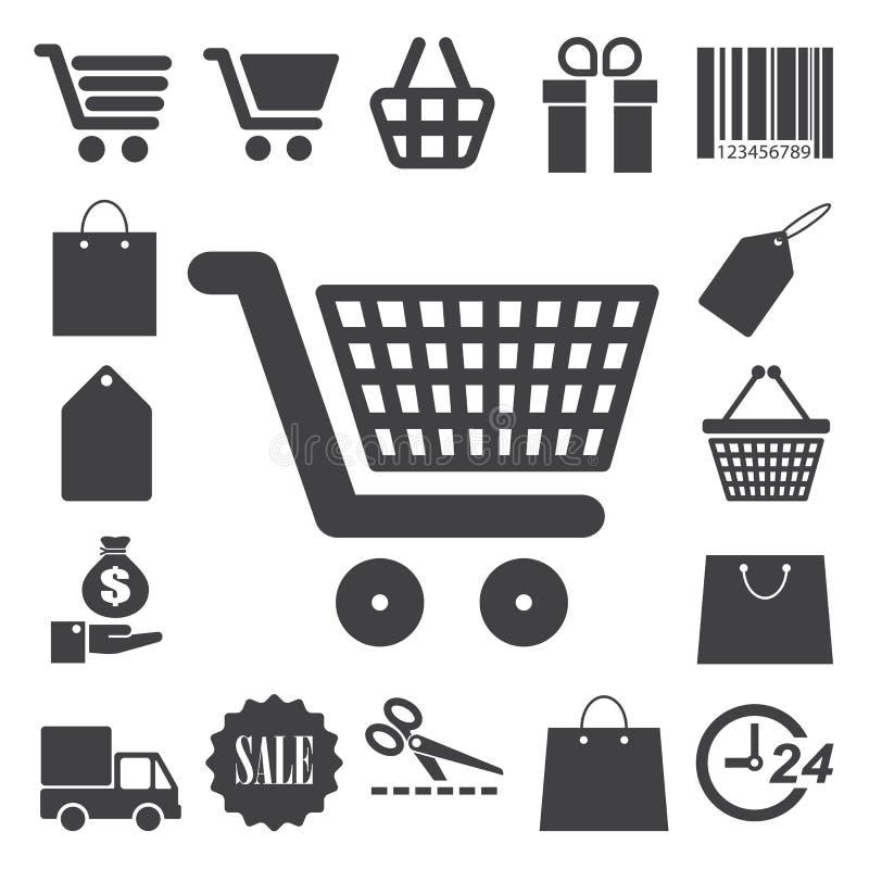 Icônes d'achats réglées. Illustration illustration libre de droits