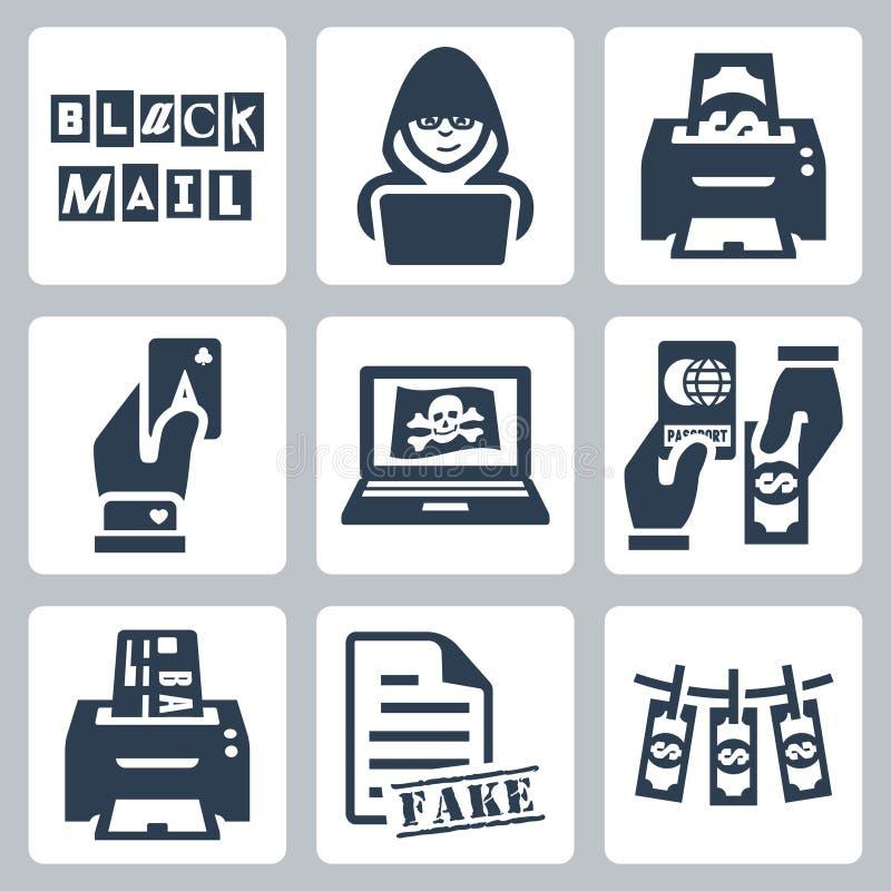 Icônes d'activité criminelle de vecteur réglées illustration stock