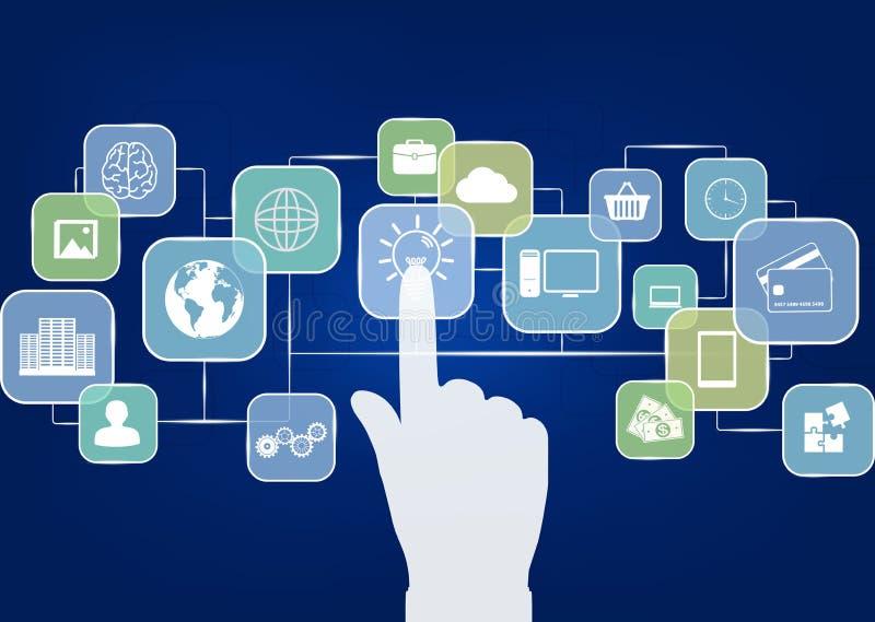 Icônes d'affaires d'écoulement avec la main d'interaction illustration stock