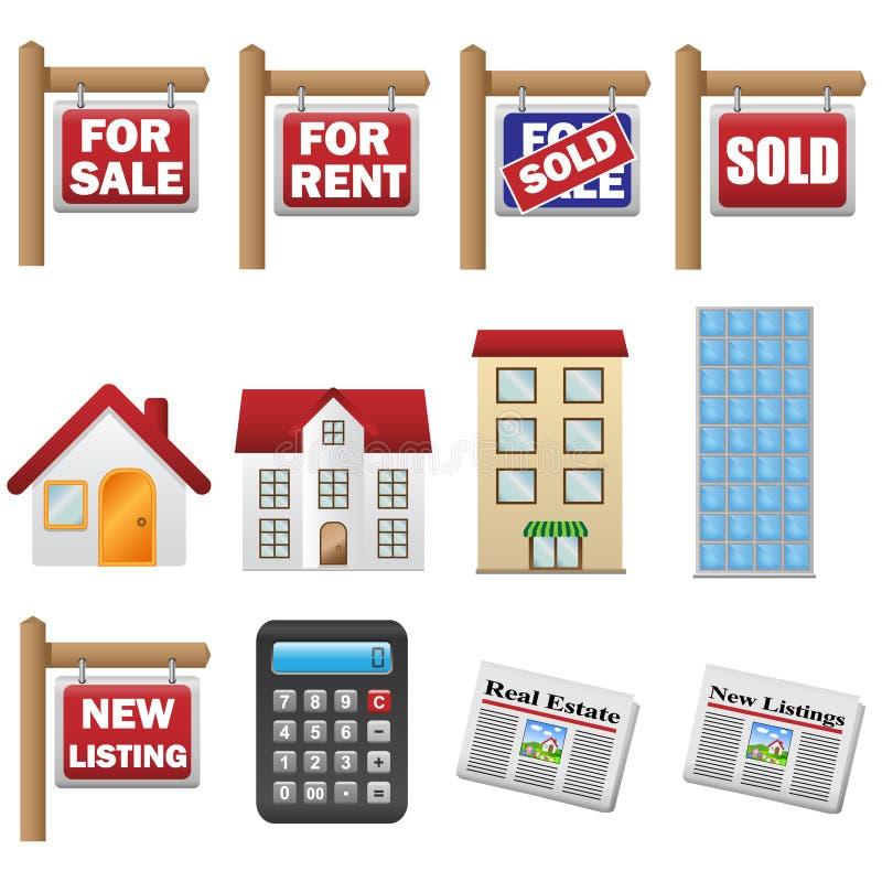 Icônes d'immobiliers illustration de vecteur