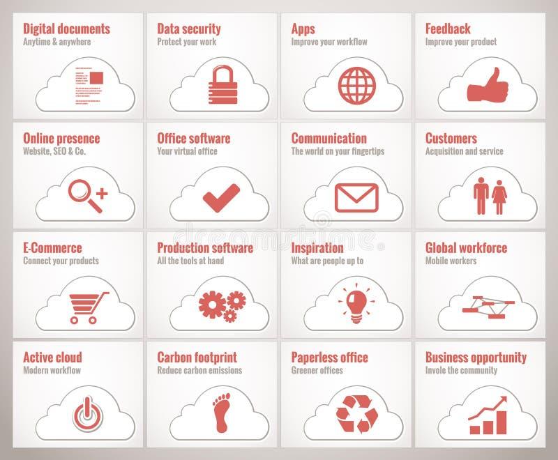 Icônes d'affaires de nuage illustration stock