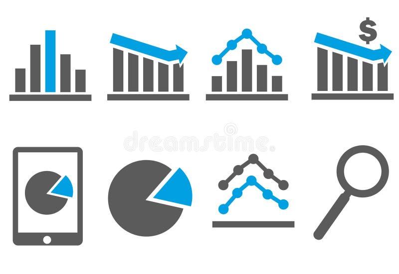 Icônes d'affaires et de finances, tendances, diagrammes images stock