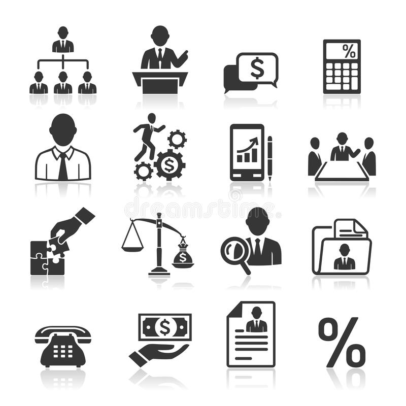 Icônes d'affaires, gestion et ressources humaines. illustration de vecteur