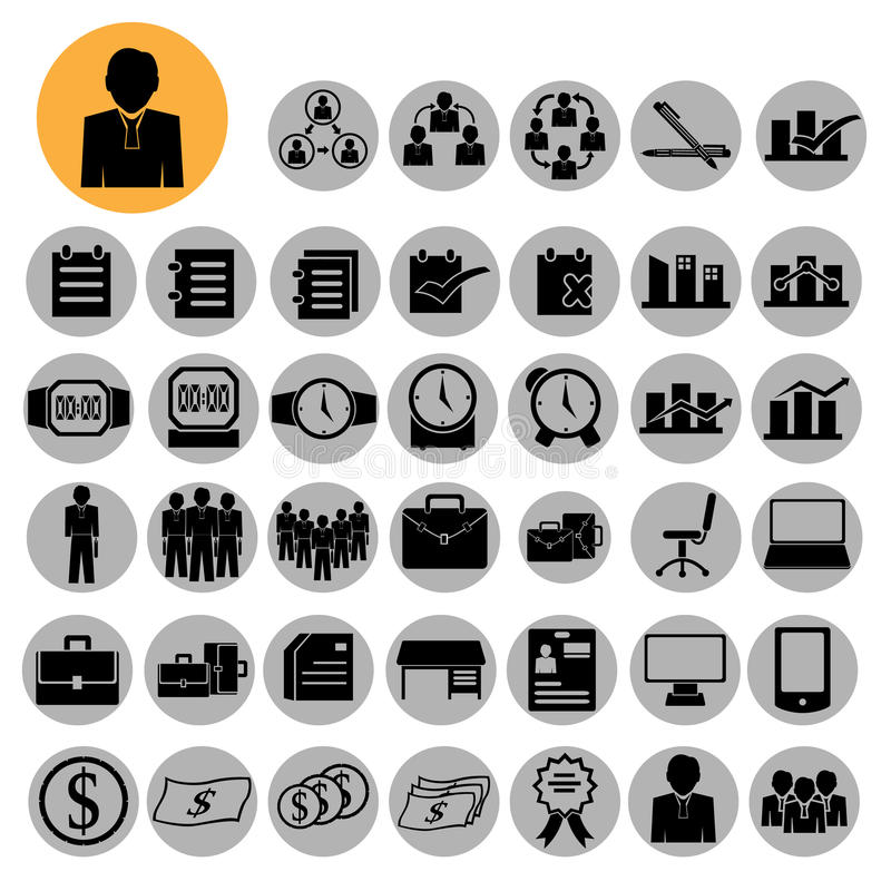 Icônes d'affaires, gestion et ressources humaines illustration libre de droits