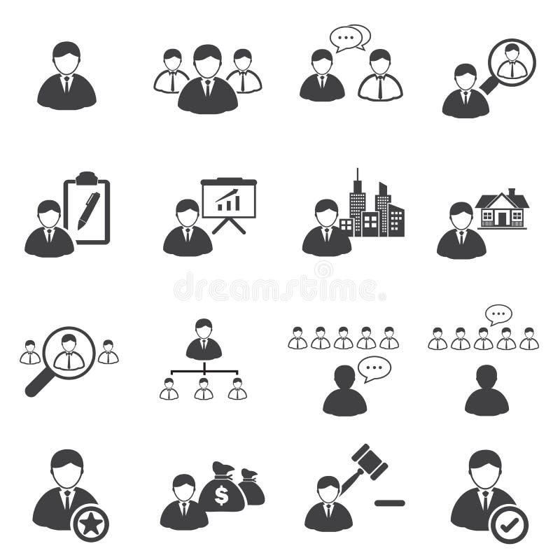 Icônes d'affaires réglées, direction illustration de vecteur