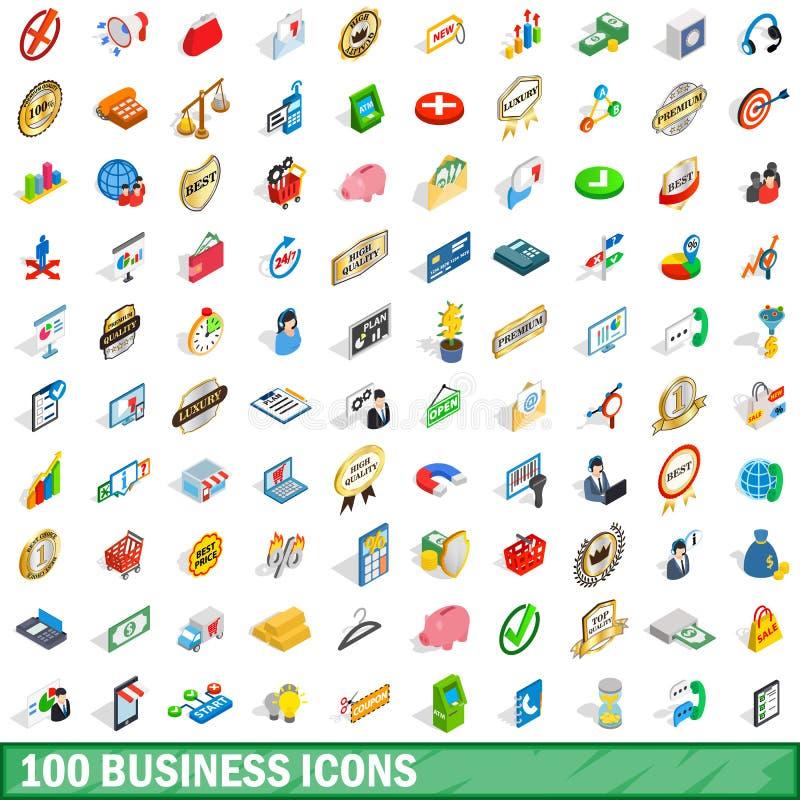 100 icônes d'affaires réglées, style 3d isométrique illustration libre de droits